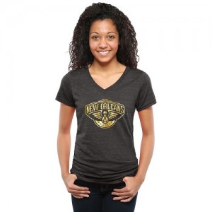 NBA Tee-Shirt De Basket Pelicans Femme Gold Collection V-Neck Tri-Blend Noir