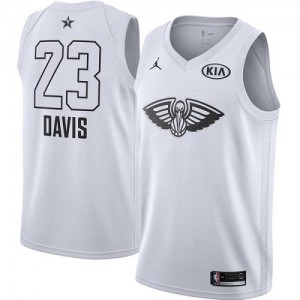 Jordan Brand NBA Maillots De Anthony Davis New Orleans Pelicans Blanc No.23 Homme 2018 All-Star Game