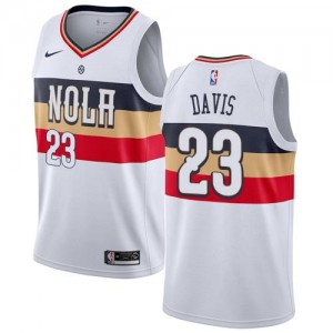 Nike Maillot Anthony Davis New Orleans Pelicans Homme Earned Edition Blanc #23
