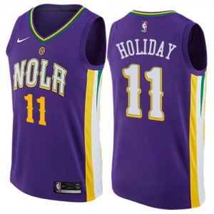 Nike NBA Maillots De Holiday New Orleans Pelicans Enfant City Edition #11 Violet
