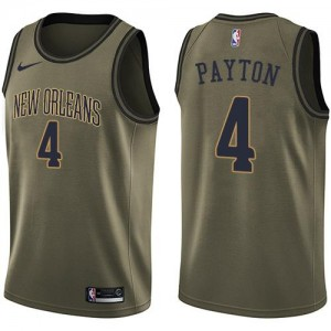 Nike Maillots Basket Payton Pelicans vert Homme No.4 Salute to Service