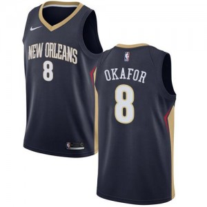 Nike NBA Maillots Basket Jahlil Okafor Pelicans bleu marine #8 Homme Icon Edition