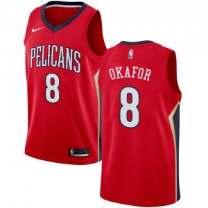 Maillots Basket Okafor Pelicans Homme #8 Statement Edition Rouge Nike