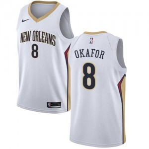Nike Maillots Basket Okafor New Orleans Pelicans Association Edition #8 Enfant Blanc
