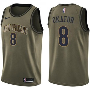 Nike NBA Maillots Jahlil Okafor Pelicans Salute to Service No.8 Homme vert