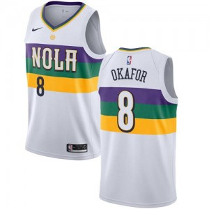 Nike NBA Maillot Okafor New Orleans Pelicans City Edition Blanc No.8 Homme