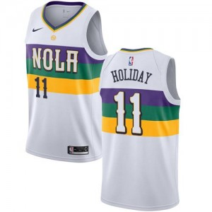 Maillots Basket Holiday New Orleans Pelicans Blanc #11 Nike Enfant City Edition