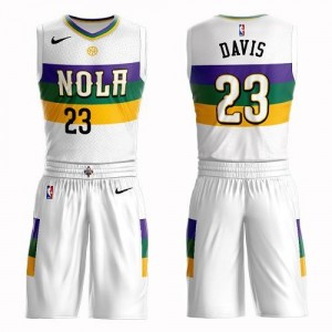 Nike Maillots Anthony Davis Pelicans Suit City Edition Homme Blanc #23