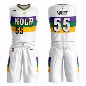 Nike NBA Maillots Basket Moore Pelicans Suit City Edition Blanc No.55 Homme