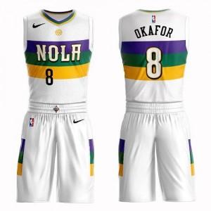 Nike NBA Maillots De Basket Jahlil Okafor New Orleans Pelicans Enfant #8 Blanc Suit City Edition