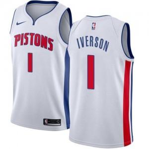 Nike NBA Maillot De Basket Allen Iverson Detroit Pistons No.1 Homme Blanc Association Edition