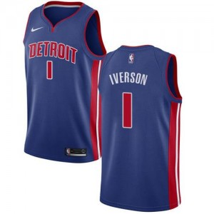 Nike Maillots De Iverson Pistons Homme Icon Edition #1 Bleu royal