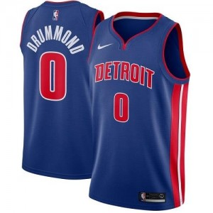 Maillots Andre Drummond Detroit Pistons Bleu royal #0 Homme Icon Edition Nike