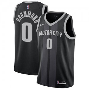 Maillots Basket Andre Drummond Pistons City Edition Enfant No.0 Noir Nike