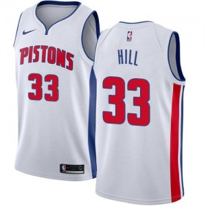 Maillot Hill Pistons #33 Homme Nike Blanc Association Edition