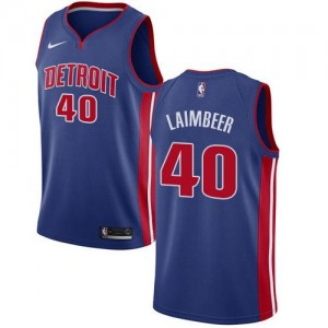Maillot De Basket Laimbeer Detroit Pistons Icon Edition #40 Homme Nike Bleu royal