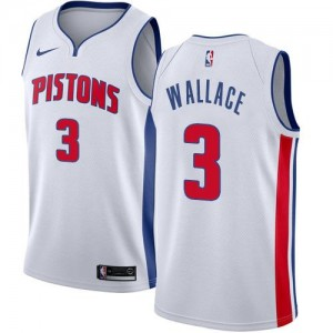 Nike NBA Maillot Basket Wallace Pistons #3 Blanc Homme Association Edition