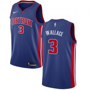 Maillots Basket Ben Wallace Pistons Nike Icon Edition #3 Bleu royal Homme