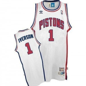Adidas NBA Maillot Basket Iverson Detroit Pistons Throwback Homme Blanc #1