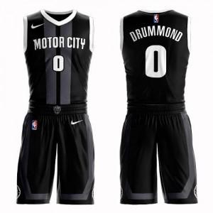 Nike NBA Maillots Andre Drummond Detroit Pistons #0 Noir Suit City Edition Homme