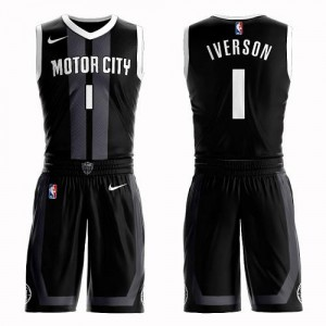 Maillots De Iverson Detroit Pistons Suit City Edition Noir No.1 Homme Nike