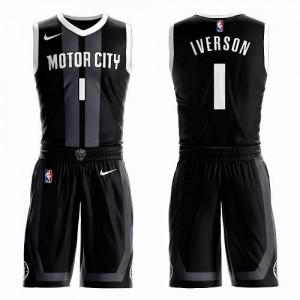 Nike Maillot Allen Iverson Pistons Suit City Edition Enfant No.1 Noir