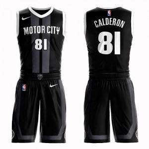 Nike Maillot Basket Jose Calderon Pistons Noir #81 Suit City Edition Enfant