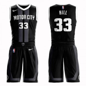 Nike Maillots Basket Hill Detroit Pistons Noir #33 Homme Suit City Edition