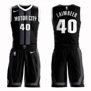 Nike NBA Maillots De Laimbeer Detroit Pistons Homme Noir No.40 Suit City Edition
