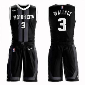 Nike Maillot De Wallace Pistons Enfant No.3 Noir Suit City Edition
