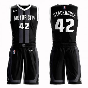 Maillot Stackhouse Pistons Nike Homme Noir #42 Suit City Edition