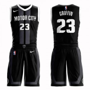 Maillots De Griffin Detroit Pistons Suit City Edition No.23 Nike Homme Noir