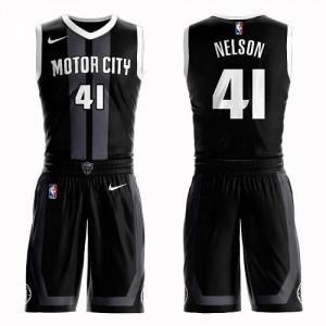 Maillots Nelson Pistons #41 Enfant Nike Suit City Edition Noir