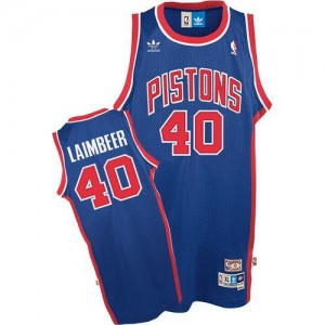 Adidas NBA Maillots Bill Laimbeer Pistons #40 Bleu Throwback Homme