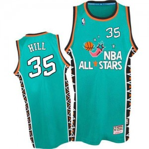 Mitchell and Ness NBA Maillot De Grant Hill Detroit Pistons No.35 1996 All Star Throwback Bleu clair Homme