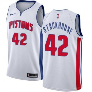 Maillots Jerry Stackhouse Pistons Blanc Nike Homme #42 Association Edition