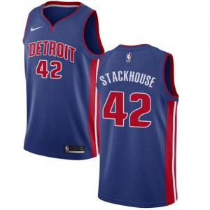 Maillot Jerry Stackhouse Detroit Pistons Icon Edition Homme Nike #42 Bleu royal