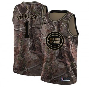 Nike NBA Maillots Basket Allen Iverson Detroit Pistons Realtree Collection Camouflage Homme #1