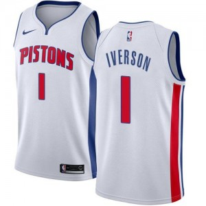 Nike NBA Maillot Basket Allen Iverson Pistons Blanc No.1 Association Edition Enfant