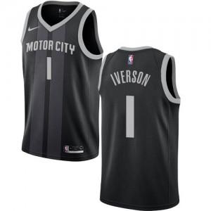 Maillot De Basket Iverson Detroit Pistons City Edition Homme No.1 Noir Nike