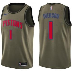 Maillot De Iverson Detroit Pistons Enfant #1 vert Nike Salute to Service