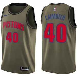 Nike NBA Maillots De Laimbeer Pistons Homme vert Salute to Service #40