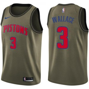 Nike Maillots Ben Wallace Pistons Homme vert Salute to Service #3
