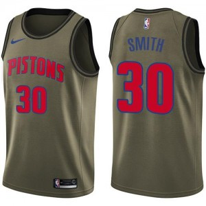 Nike Maillots Basket Joe Smith Detroit Pistons Salute to Service vert #30 Homme