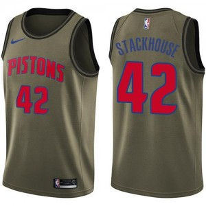 Nike NBA Maillots Basket Jerry Stackhouse Pistons #42 vert Homme Salute to Service