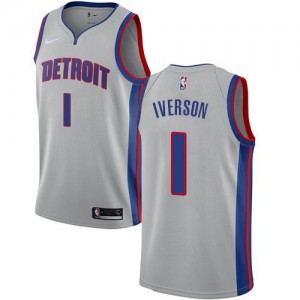 Nike Maillots Basket Allen Iverson Pistons Statement Edition No.1 Argent Homme