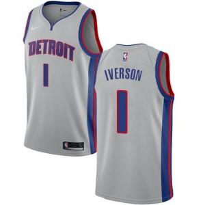 Nike NBA Maillot De Basket Allen Iverson Detroit Pistons No.1 Enfant Statement Edition Argent