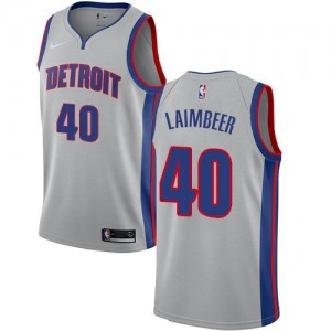 Nike NBA Maillot Basket Bill Laimbeer Pistons Homme Statement Edition #40 Argent