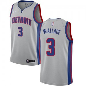 Nike NBA Maillots Basket Wallace Pistons Statement Edition #3 Homme Argent