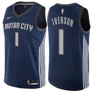 Maillots Basket Iverson Detroit Pistons #1 Homme bleu marine City Edition Nike
